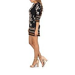 Izabel London - Navy 3/4 sleeve floral print dress