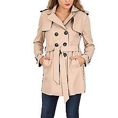 Izabel London - Beige long sleeve button detail coat