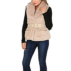 Izabel London - Beige belted faux fur trims jacket