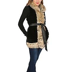 Izabel London - Black faux fur pocketed belted vest