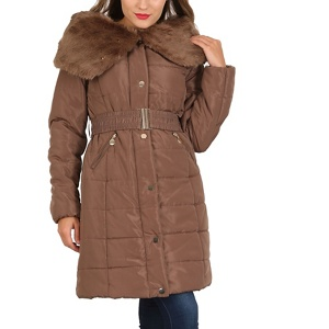 David Barry Taupe faux fur padded coat
