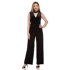 Roman Originals - Black velvet choker jumpsuit