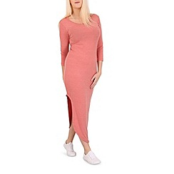 Indulgence - Pink drape front midi dress