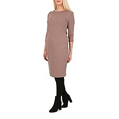 Indulgence - Beige 3/4 sleeve midi dress