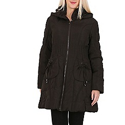 David Barry - Brown quilted hooded coat