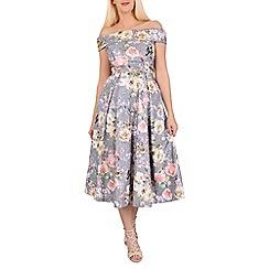 Jolie Moi - Grey lace bonded sequin midi dress