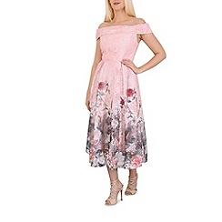Jolie Moi - Pink lace print midi prom dress