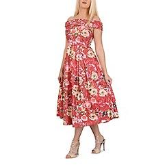 Jolie Moi - Red sequin lace bardot midi dress