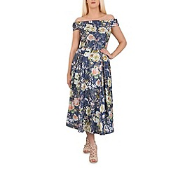 Jolie Moi - Navy floral print sequin midi dress