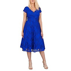 Jolie Moi - Royal cap sleeve scalloped lace dress