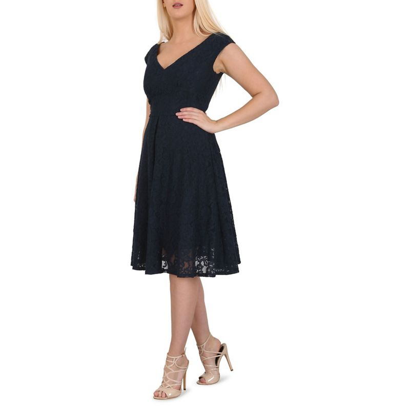 Jolie Moi Navy (Blue) Sweetheart Neck Lace Dress, Womens,