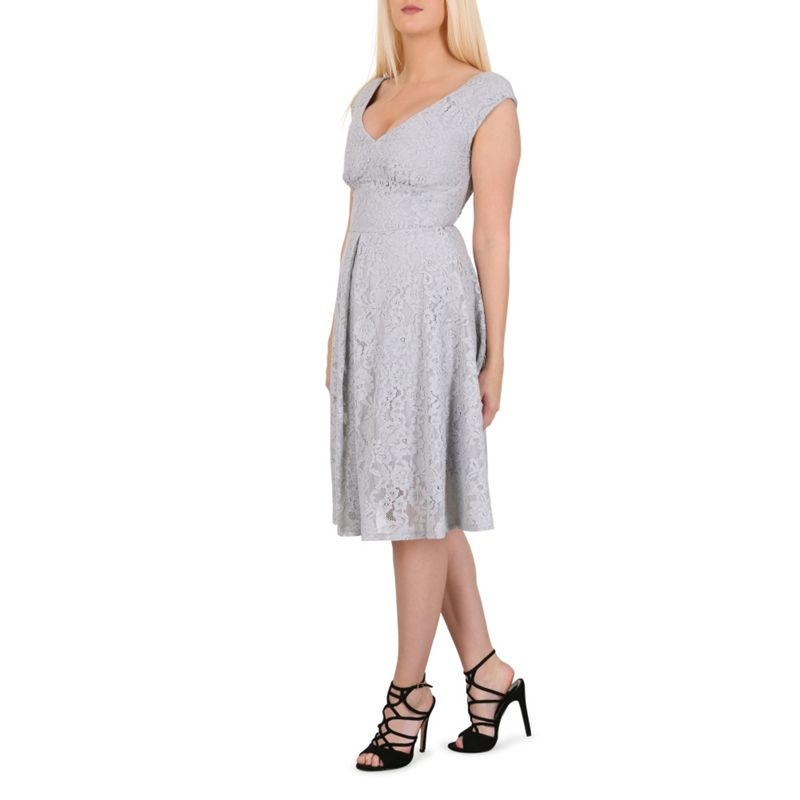 Jolie Moi Grey Sweetheart Neck Lace Dress, Womens, Size: