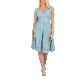 Plus Size Jolie Moi Green Sweetheart Neck Lace Dress