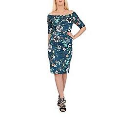 Jolie Moi - Turquoise retro floral print dress