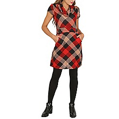 Stella Morgan - Red checked cowl neck dress