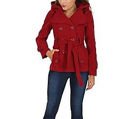 Stella Morgan - Dark red tie waist hooded coat