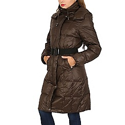 David Barry - Brown feather & down padded coat