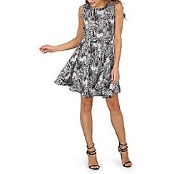Mela - Black leaves skater dress