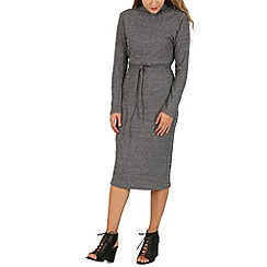 Mela - Grey high neck knitted dress
