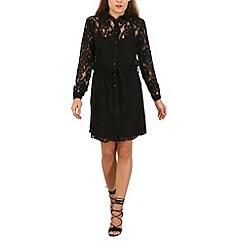 Mela - Black lace midi shirt dress