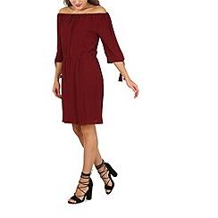 Izabel London - Wine 3/4 sleeve bardot dress