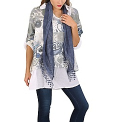 Izabel London - Blue layered scarf tunic