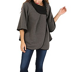 Izabel London - Grey batwing ribbed poncho