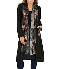 Izabel London - Black floral lace draped cardigan