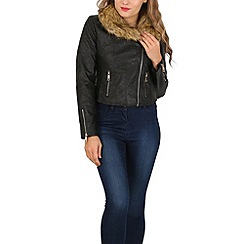 Izabel London - Black faux fur zip detail jacket