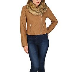 Izabel London - Light brown faux fur zip detail jacket