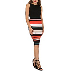 Izabel London - Orange stripe skirt bodycon dress