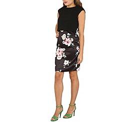 Izabel London - Black floral print skirt dress