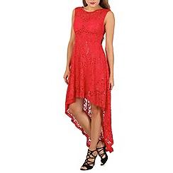 Izabel London - Red high low lace dress