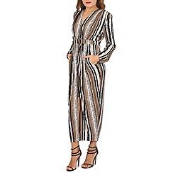 Izabel London - Beige stripe print maxi dress