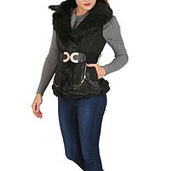 Izabel London - Black faux fur collar gilet