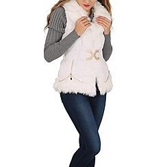 Izabel London - White faux fur collar gilet