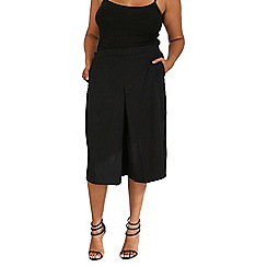 Samya - Black wide leg pleat culottes