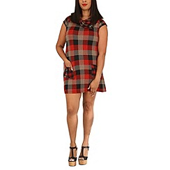 Samya - Red plus size cap sleeve checked tunic dress
