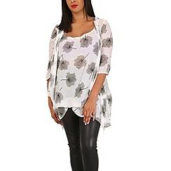 Samya - Beige plus size floral tunic dress