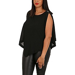 Samya - Black plus size layered gem sleeve top