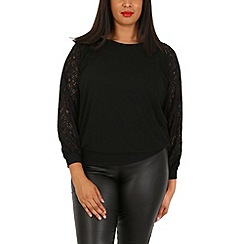 Samya - Black contrast lace panel top
