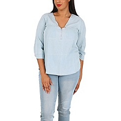 Samya - Blue denim look zip detail top