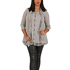 Samya - Grey button up top with lace layer