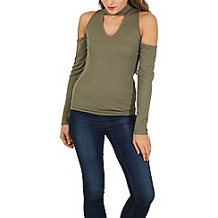 Stella Morgan - Khaki long sleeve cold shoulder fitted top
