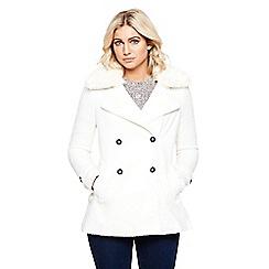 Bellfield - Cream faux fur collar wool pea coat
