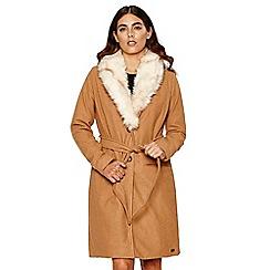 Bellfield - Camel faux fur collar belted wool coat