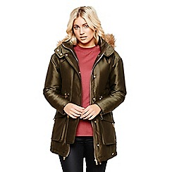 Bellfield - Khaki luxe parka with faux fur trim