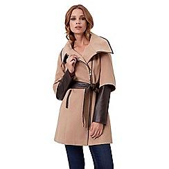 Jane Norman - Camel pu zip detail coat