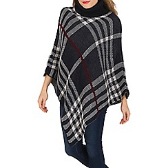 Mela - Navy knitted poncho