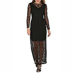 Mela - Black floral lace maxi dress